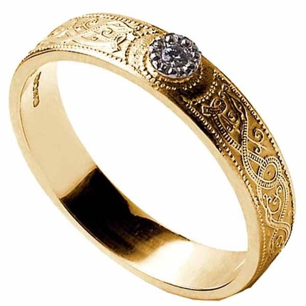 Celtic Ring - Ladies Diamond Warrior Shield Wedding