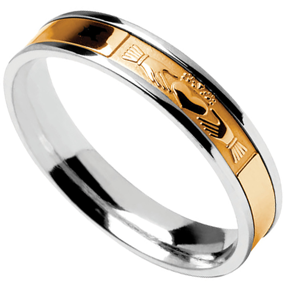 Claddagh Ring  Mens Sterling Silver with 10k Yellow Gold