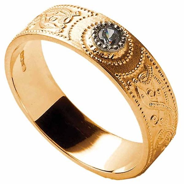 Celtic Ring - Men' Warrior Shield Wedding Diamond
