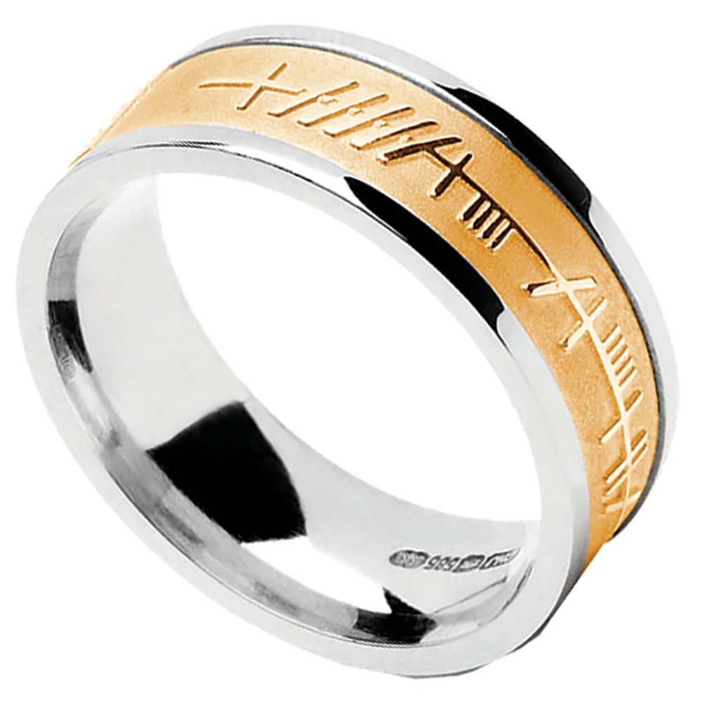 Irish Ring Mens White Gold With Yellow Gold Ogham Mo