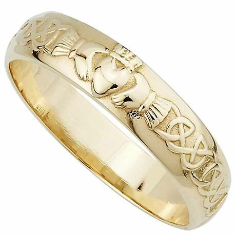Irish Wedding Ring  Mens 14k Gold Claddagh Wedding Band