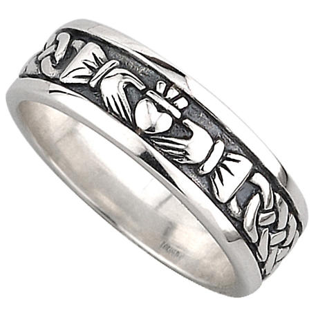 Claddagh Ring  Mens Sterling Silver Celtic Claddagh