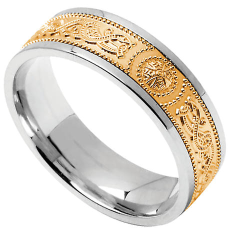 Celtic Ring Mens Sterling Silver With 10k Yellow Gold