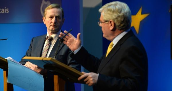 Taoiseach Enda Kenny and Tánaiste Eamon Gilmore pictured at Government Buildings earlier this month. Photograph: Dara Mac Dónaill/The Irish Times