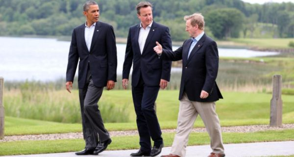 Taoiseach Enda Kenny makes a point to  US president Barack Obama and Britain's prime minister David Cameron during a walk at the G8 summit  at Lough Erne  in Enniskillen, Co Fermanagh. Photograph:  Matt Cardy/Getty Images