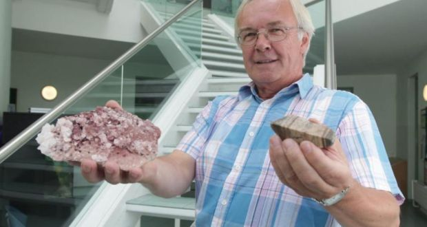 Prof Martin Feely with a modern halite from Death Valley (the big one) and an ancient piece of Earth's crust