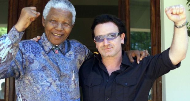 Nelson Mandela with Bono in 2002. 'I, like everyone else, was mesmerizsed by his deft manoeuvering as leader of South Africa,' says the U2 frontman. Photograph: AP Photo/Juda Ngwenya