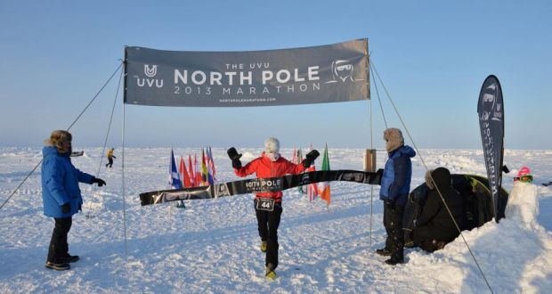 At the finish line of the North Pole marathon. Photograph: Mike King