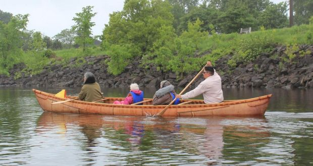 Replica Grandfather Akwiten canoe which the Maliseet community has offered to Galway as a mark of thanks for returning their original.