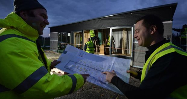 Derek Tremaman from Ceardean Architects and Builder Ken Mariner from KSM Construction with Ireland's first fully-compliant shipping container home. Photograph: Alan Betson/The Irish Times