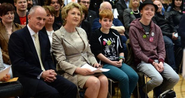 """'Slowly, but surely, we have been chipping away at what former President Mary McAleese succinctly describes as """"the architecture of homophobia"""".'  Mary McAleese, who was speaking at a Belong To Yes event, with Dr Martin McAleese, Ciara Sheehan and Nathan Beatty, (right). Photograph: Dara Mac Dónaill / The Irish Times"""