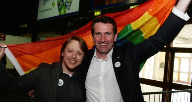 Luke Field from Cork and Minister of State for Equality Aodhán Ó Ríordáin at the count centre in Dublin for the same-sex marriage referendum. Photograph: Cyril Byrne.
