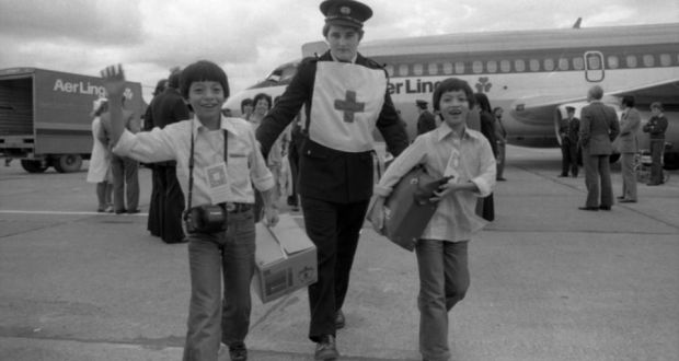 The relieved and joyous Vietnamese Boat People arriving at Dublin Airport in 1979. Photograph: Eddie Kelly