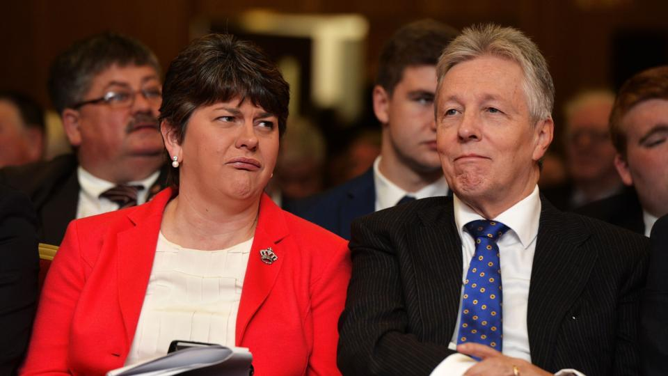 Controversial, hardline DUP leader, Arlene Foster, and her equally controversial predecessor, Peter Robinson