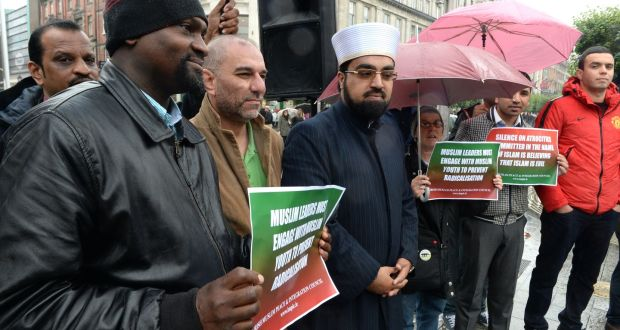 Archive image of Dr Umar Al-Qadri at a protest in O'Connell Street against Islamic State – Not in our Name – on behalf of Irish Muslims in Ireland. Photograph: Cyril Byrne