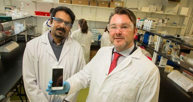 Prof Suresh Pillai with John Browne, CEO of Kastus Technologies Ltd,  at IT Sligo. Photograph: PA/PA Wire