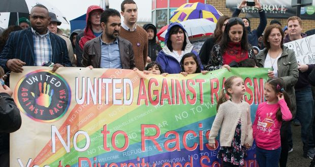 An anti-racism rally held  in Nutgrove, Rathfarnham earlier this week, in response to  a recent attack on three Afghans in the area. Photograph: Dave Meehan/The Irish Times