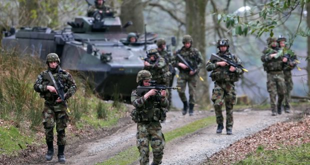 Members of the Defence Forces from the 53rd Infantry Group pictured in April during a readiness training excercise in Coolmoney Camp, Glen of Imaal, Co Wicklow. Photograph: Colin Keegan/Collins Dublin.