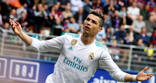 Real Madrid's  Cristiano Ronaldo celebrates after scoring the opening goal against  Eibar during the La  Liga Primera Division  match played at Ipurua stadium in Eibar. Photograph: Javier Etxezarreta/EPA