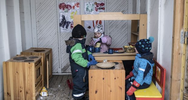 play kitchens for boys kitchen cabinet grades the school where girls yell and run at in an outdoor toy a preschool sweden