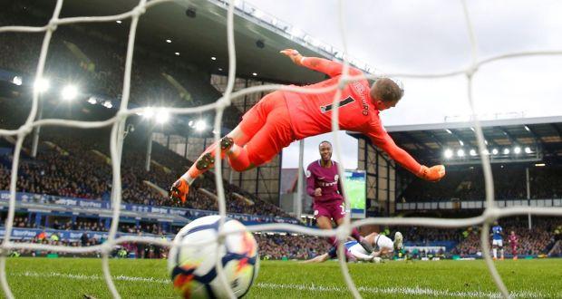 Manchester City's Raheem Sterling scores their third goal. Photograph: Action Images via Reuters/Carl Recine