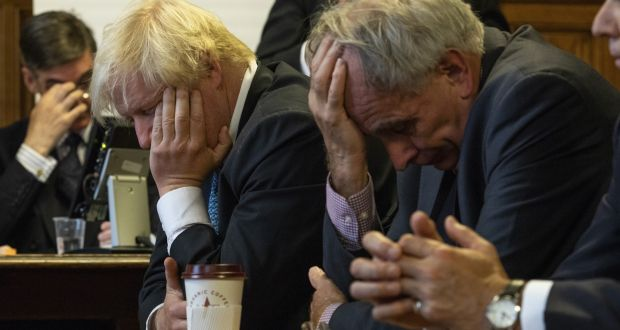 Brexit headache: Conservative MPs Jacob Rees-Mogg, Boris Johnson and Peter Bone at the launch of a report claiming the UK economy would be better off with a hard Brexit. Photograph: Dan Kitwood/Getty Images