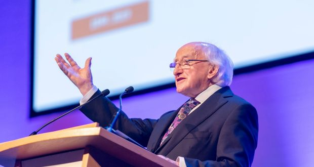 President Michael D Higgins lauded the Society of St Vincent de Paul's 'exceptional network of solidarity' with poorer people at its anniversary event in the Convention Centre Dublin. Photograph: Iain White/Fennell Photography