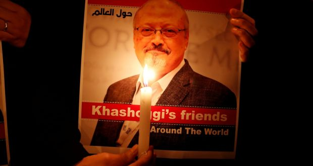 A poster of Saudi journalist Jamal Khashoggi who was murdered in the Saudi Arabia consulate in Istanbul on October 2nd. Photograph: Osman Orsal