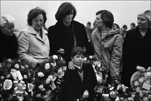 The funeral of Bobby Sands with his son Gerald, his mother Rosaleen and his sister Marcella. Photograph: Campion/ Lochon/ Gamma-Rapho via Getty Images