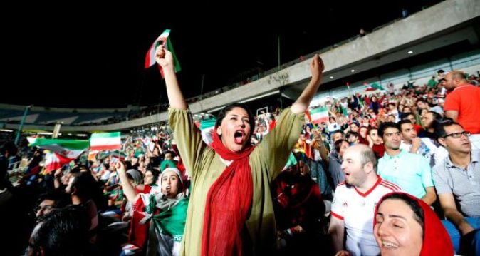 Image result for iranian ladies entered football stadium