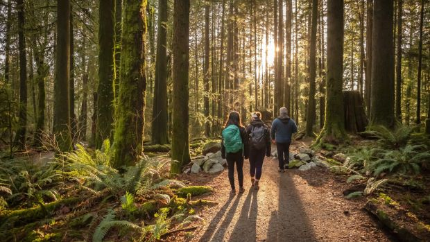 Mature father and Eurasian daughters hiking in Mt. Seymour Provincial Park, North Vancouver, British Columbia, Canada