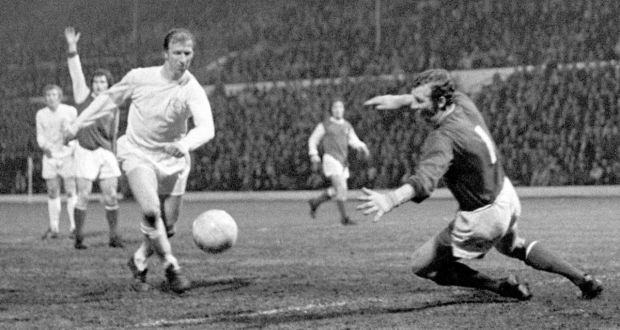 Jack Charlton of Leeds United goes through before scoring past Arsenal's Bob Wilson at Elland Road, 1971. Photograph: PA Wire
