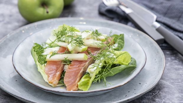 Smoked salmon, butterhead, wasabi, apple and dill. Photograph: Harry Weir
