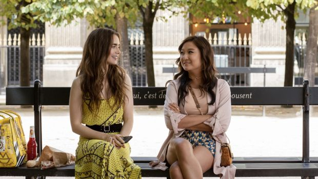Lily Collins and Ashley Park in Lily in Paris. Photograph: Carole Bethuel/Netflix