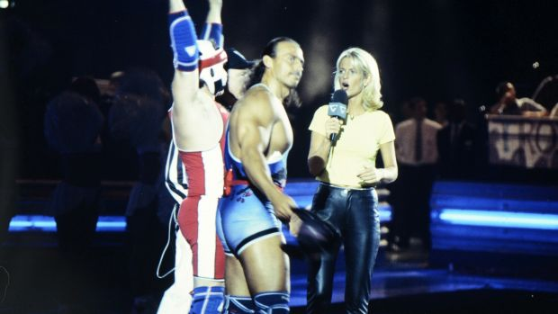 Wolf (Michael van Wijk) and host Ulrika Jonsson during the filming of Gladiators for Comic Relief at the National Indoor Arena in Birmingham in 1997. Photograph: Comic Relief/Comic Relief via Getty Images