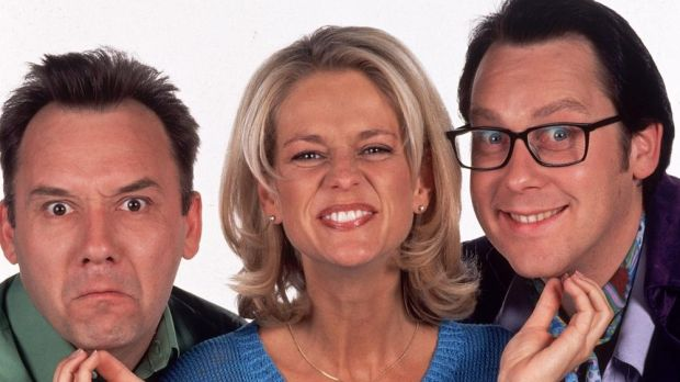 Ulrika Jonsson with Bob Mortimer (left) and Vic Reeves in the BBC's Shooting Stars: a high point for women on panel shows. Photograph: PR company handout