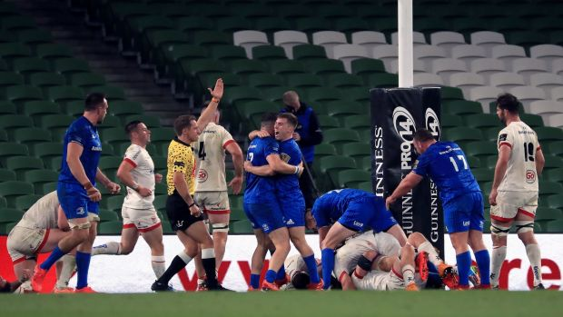 Caelan Doris scores a late try to seal Leinster's victory over Ulster. Photograph: Donall Farmer/PA