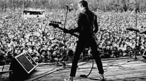 Paul Simonon of the Clash at a Rock Against Racism concert, Victoria Park, east London, April 1978. Photograph: Syd Sheldon/White Riot