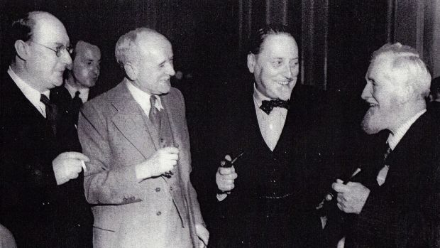 The painter Cecil Salkeld, the writer Richard Hayward, the novelist Compton MacKenzie and the writer Maurice Walsh at a function in Dublin in the 1950s