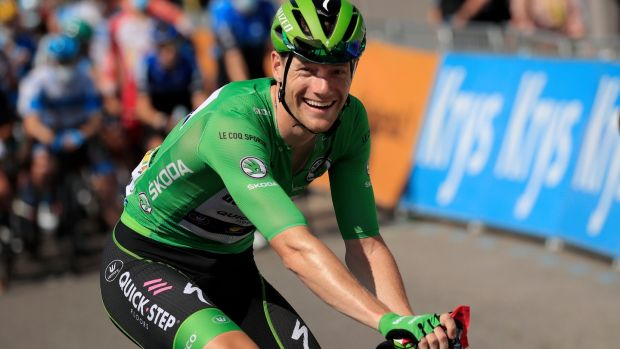 Sam Bennett waits at the start of stage 16 of the Tour de France from La-Tour-du-Pin to Villard-de-Lans. Photograph: Christophe Petit Tesson/EPA