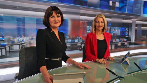 RTÉ television news anchors Keelin Shanley and Caitríona Perry, in 2019. Photograph: Colin Keegan, Collins Dublin