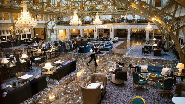 The lobby of the Trump International Hotel in Washington on November 17th, 2019. Photograph: Al Drago/New York Times