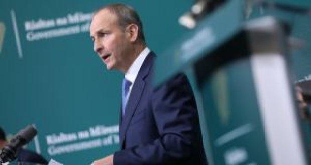 Taoiseach Micheál Martin announcing the new green deal. Photograph: Julien Behal Photography/PA Wire.