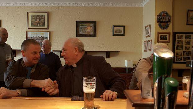 Fr Kevin McNamara in Enrights Bar, Moyvane, Co Kerry