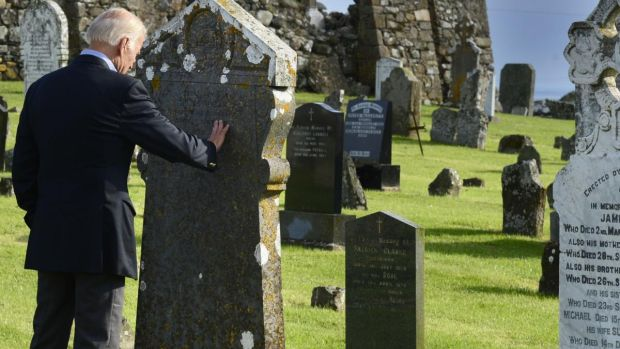 Joe Biden at the headstone of the Finegan family at Kilwirra Templetown, Co Louth: has a knack of knowing which way the wind is blowing on social issues. Photograph: Cyril Byrne