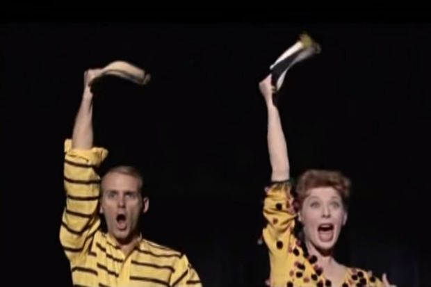 In the song-and-dance number – Who's Got the Pain– from the 1958 movie Damn Yankees. Gwen Verdon and Bob Fosse ease into their comic stage routine with a punchy, hip-swaying backward walk. Photograph: Warner Bros