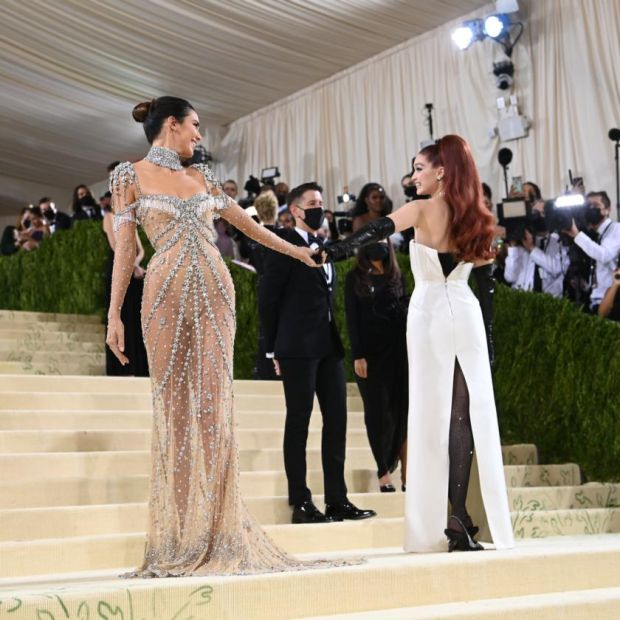 Kendall Jenner, left, and Gigi Hadid at the Metropolitan Museum of Art's Costume Institute benefit gala in New York, Sept. 13, 2021. (Nina Westervelt/The New York Times)