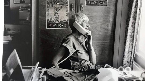 Carmel Budiardjo in the Tapol office at her home in Thornton Heath, south London