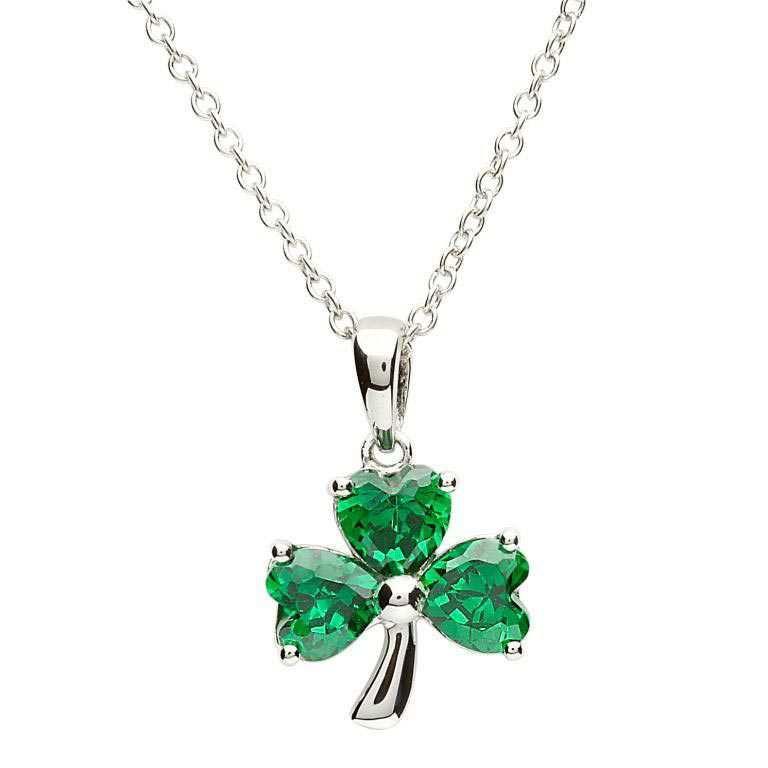 Sterling Silver Green Shamrock Pendant