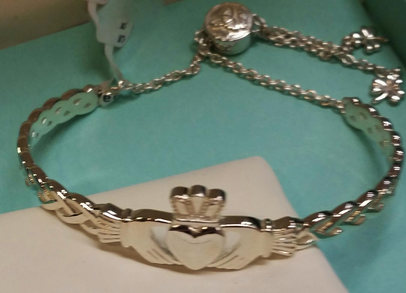 Sterling Silver Adjustable Claddagh Bracelet